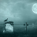 Gravestones In Moonlight by Jaroslaw Grudzinski
