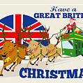 Great British Christmas Santa Reindeer Doube Decker Bus by Aloysius Patrimonio
