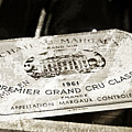 Great Wines Of Bordeaux - Chateau Margaux 1961 by Frank Tschakert