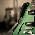 Green Electric Guitar With Blurry Background by Sean Molin - www.seanmolin.com