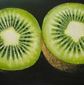 Green Kiwi Oil Painting  by Natalja Picugina