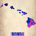 Hawaii Watercolor Map by Naxart Studio