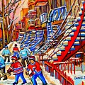 Hockey Game Near The Red Staircase by Carole Spandau