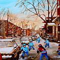 Hockey Gameon Jeanne Mance Street Montreal by Carole Spandau
