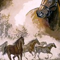 Horse Painting A dream of running wild Print by Gina Femrite