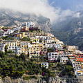 Houses Built On A Hillside Positano Italy by George Oze