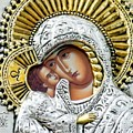 Icon Of The Bl Virgin Mary W Christ Child by Jake Hartz