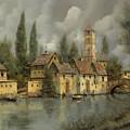 il borgo sul fiume Print by Guido Borelli