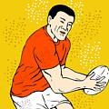 Japanese Rugby Player Passing Ball by Aloysius Patrimonio