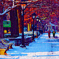 Jogging In The Snow Along Boathouse Row by Bill Cannon