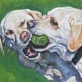 Labrador Retriever Yellow Buddies by Lee Ann Shepard