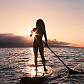 Lady Paddling by Dave Fleetham - Printscapes