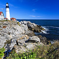 Lighthouse At Cape Elizabeth by George Oze