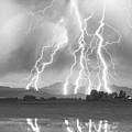 Lightning Striking Longs Peak Foothills 4cbw by James BO  Insogna