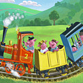 Little Happy Pigs On Train Journey by Martin Davey