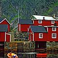 Lofoten Fishing Huts Oil by Steve Harrington