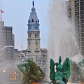 Logan Circle Fountain With City Hall In Backround 2 by Bill Cannon