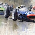 Lola Lotus Cooper Ferrari Datch GP 1962 Print by Yuriy  Shevchuk