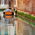 Lone Orange Boat in Venice