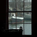 Looking Out Through A Window At Wooden by Todd Gipstein