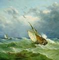 Lowestoft Trawler In Rough Weather by John Moore