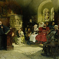 Luther Preaches Using His Bible Translation While Imprisoned At Wartburg by Hugo Vogel