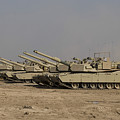 M1 Abrams Tanks At Camp Warhorse by Terry Moore
