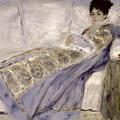 Madame Monet On A Sofa by Pierre Auguste Renoir