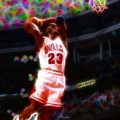 Magical Michael Jordan White Jersey by Paul Van Scott