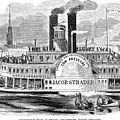 Mail Steamboat, 1854. /nthe Louisville Mail Company Steamboat Jacob Strader. Wood Engraving, 1854 by Granger