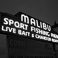 Malibu Pier Sign In Bw by Glenn McCarthy Art and Photography