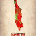 Manhattan Watercolor Map by Naxart Studio