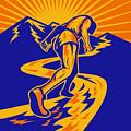 Marathon Runner Or Jogger On Mountain Road  by Aloysius Patrimonio
