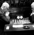 Mature Men Playing Chess, Profile (b&w) by Hulton Archive