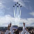Members Of The U.s. Naval Academy Cheer by Stocktrek Images