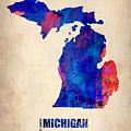 Michigan Watercolor Map by Naxart Studio
