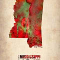 Mississippi Watercolor Map by Naxart Studio