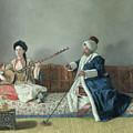Monsieur Levett And Mademoiselle Helene Glavany In Turkish Costumes by Jean Etienne Liotard