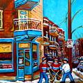 Montreal City Scene Hockey At Wilenskys by Carole Spandau