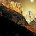 Moon Over Half Dome . Portrait Cut by Wingsdomain Art and Photography