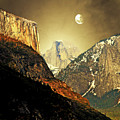 Moon Over Half Dome by Wingsdomain Art and Photography