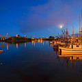 Moon Over Sitka Marina by Mike  Dawson