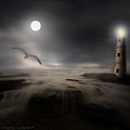 Moonlight Lighthouse by Lourry Legarde