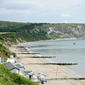 Morning Bay Pt Looking Up Swanage Bay On A Summer Morning Beach Scene by Andy Smy