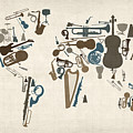 Musical Instruments Map Of The World Map by Michael Tompsett