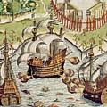 Naval Battle Between The Portuguese And French In The Seas Off The Potiguaran Territories by Theodore de Bry