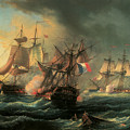 Naval Combat Between The Rights Of Man And The English Vessel Indefatigable And The Frigate Amazon by Leopold Le Guen