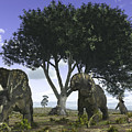 Nedoceratops Graze Beneath A Giant Oak by Walter Myers