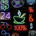 Neon Sign Series Of Various Symbols by Michael Ledray