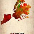 New York City Watercolor Map 2 by Naxart Studio